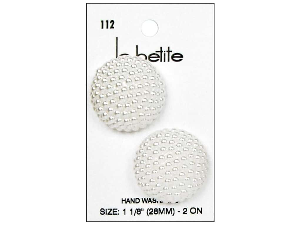 LaPetite Shank Buttons 1 1/8 in. White #112 2 pc.