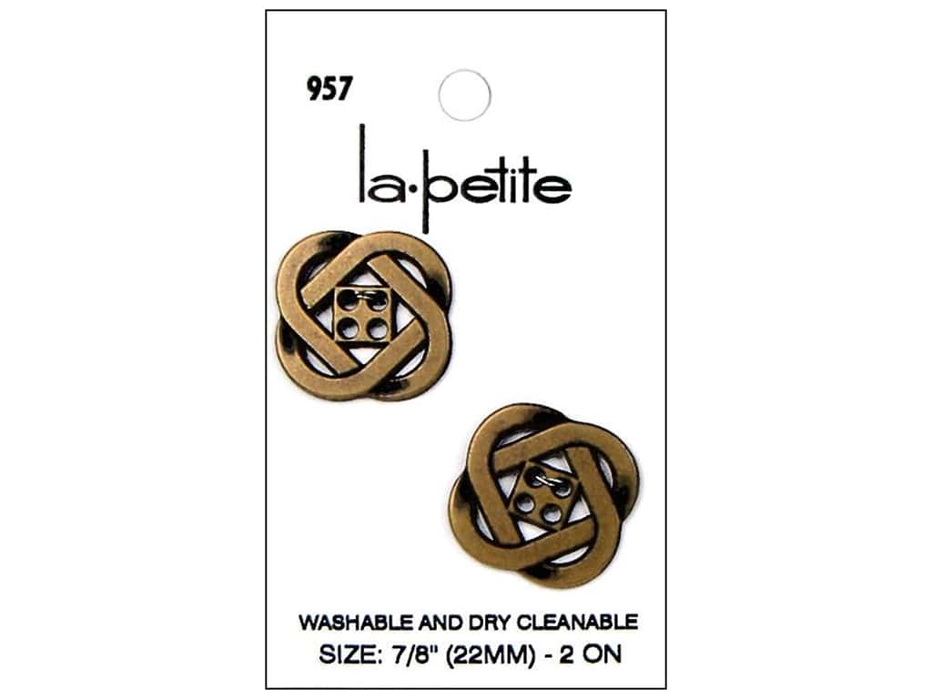 LaPetite 4 Hole Buttons 7/8 in. Antique Gold #957 2pc.