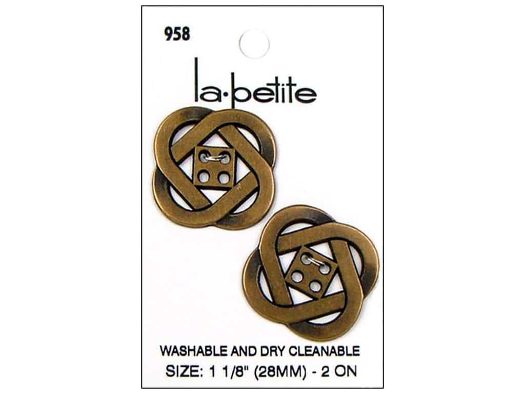 LaPetite 4 Hole Buttons 1 1/8 in. Antique Gold #958 2 pc.