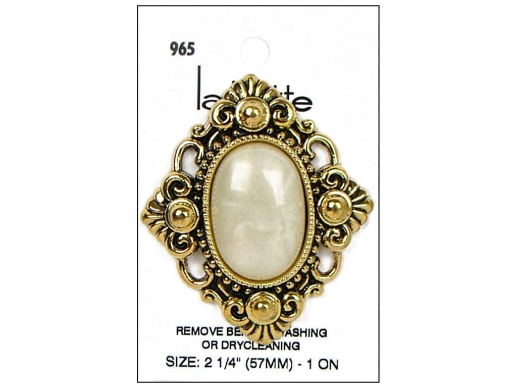 LaPetite Shank Buttons 2 1/4 in.  Antique Gold/White #965 1 pc.