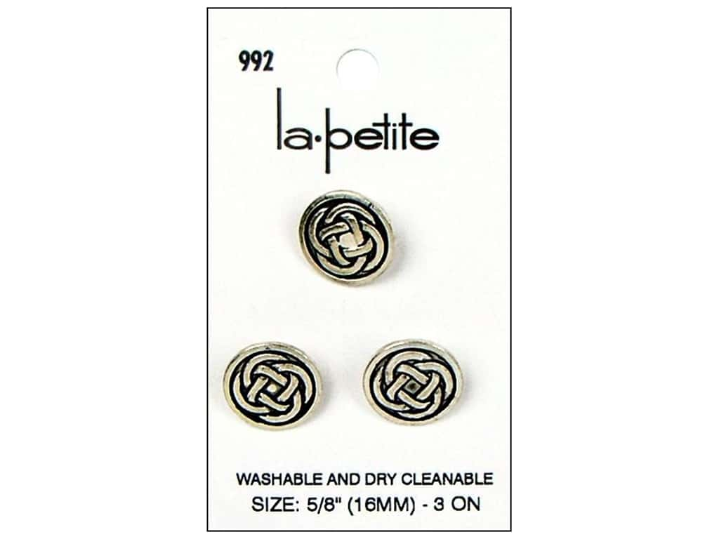 LaPetite Buttons - Shank - 5/8 in. Antique Silver 3 pc.