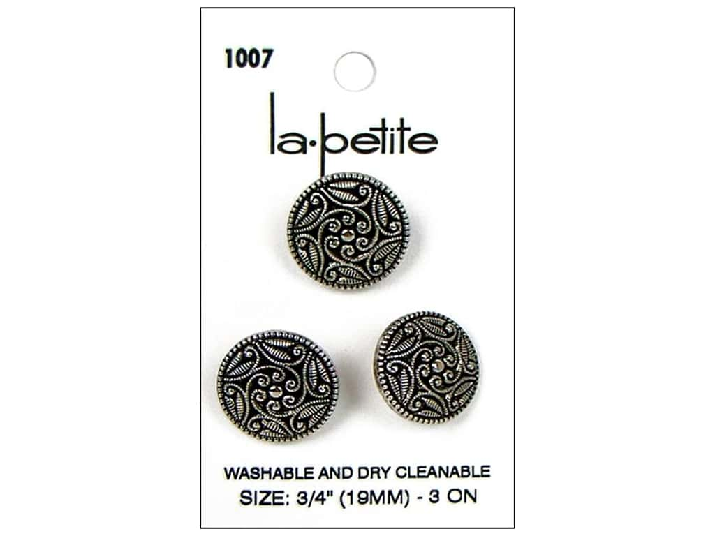 LaPetite Shank Buttons 3/4 in. Antique Silver #1007 3 pc.