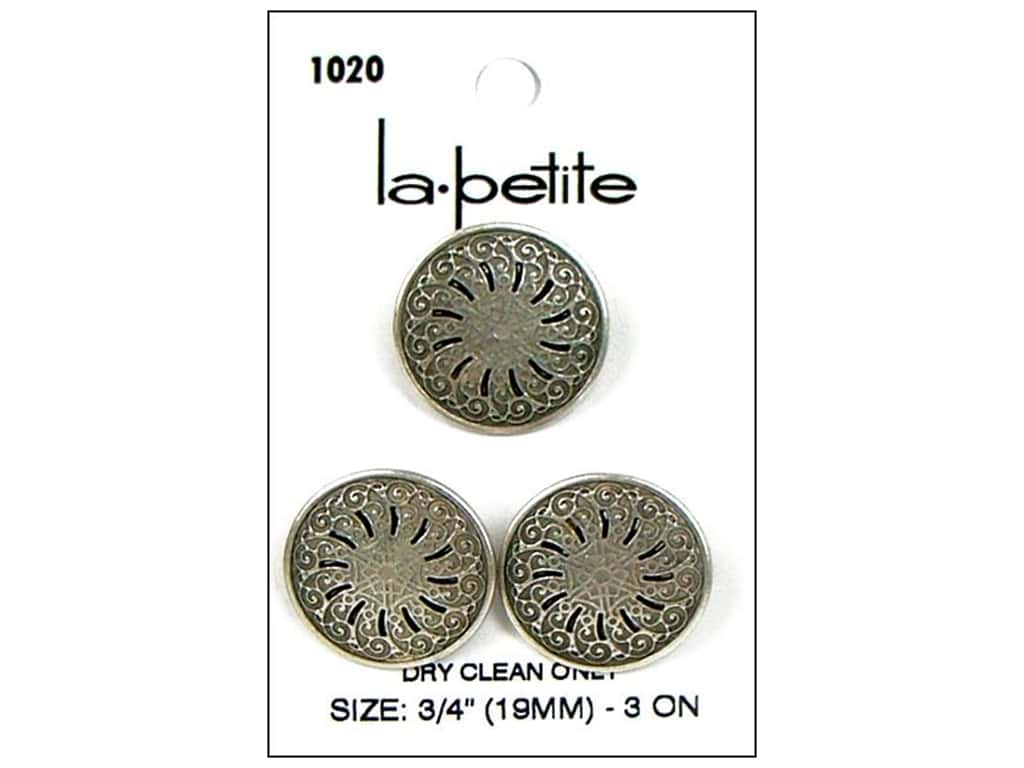 LaPetite Shank Buttons 3/4 in. Antique Silver #1020 3 pc.