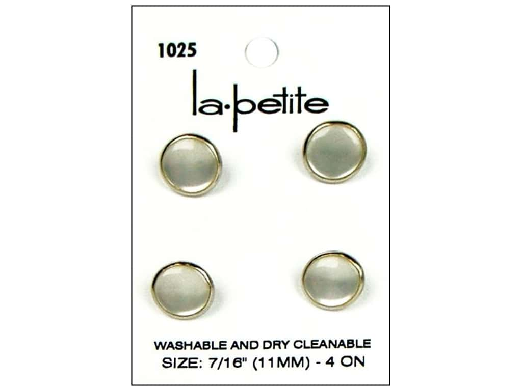 LaPetite Shank Buttons 7/16 in. Silver/Pearl #1025 4 pc.