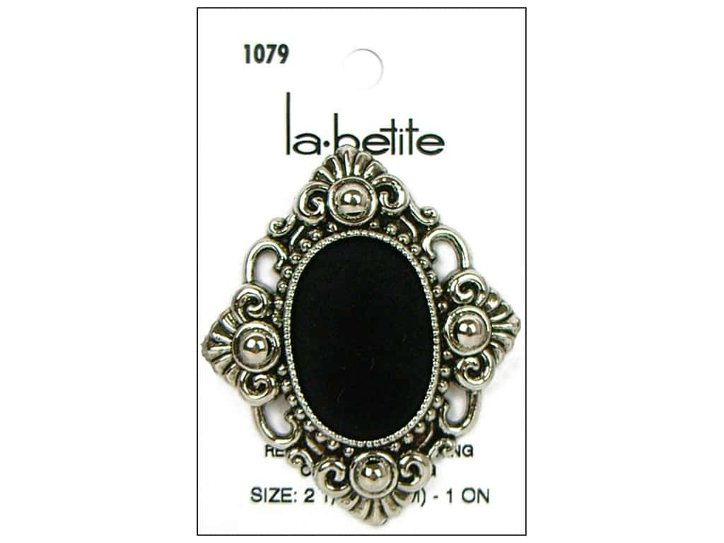 LaPetite Shank Buttons 2 1/4 in. Antique Silver/Black #1079 1 pc.