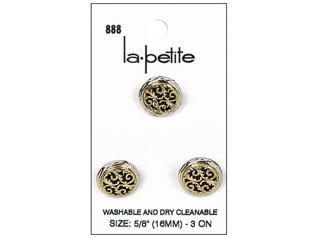 LaPetite Shank Buttons 5/8 in. Silver/Antique Gold #888 3 pc.