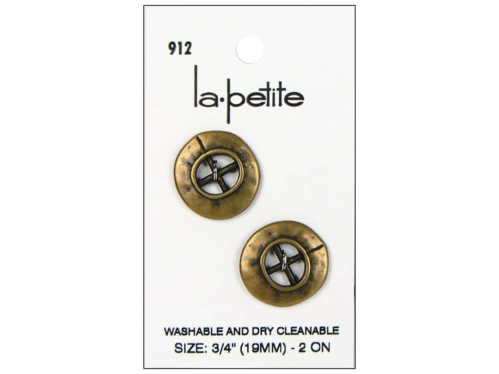 LaPetite 4 Hole Buttons 3/4 in. Antique Gold #912 2pc.