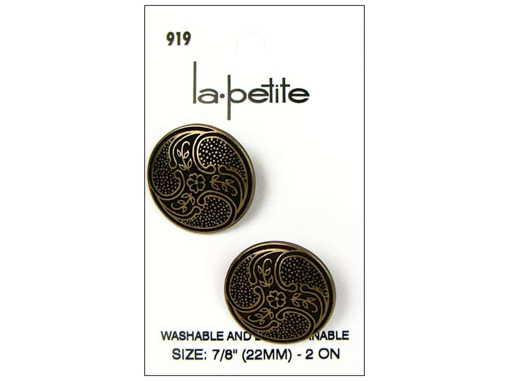 LaPetite Shank Buttons 7/8 in. Antique Gold #919 2 pc.