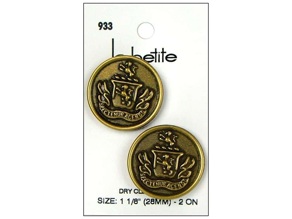 LaPetite Shank Buttons 1 1/8 in.  Antique Gold with Crest #933 2pc.