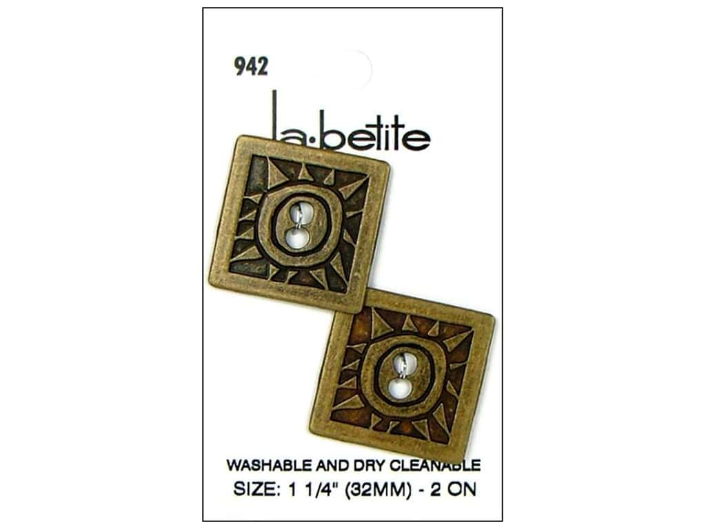 LaPetite 2 Hole Buttons 1 1/4 in.  Antique Gold #942 2pc.