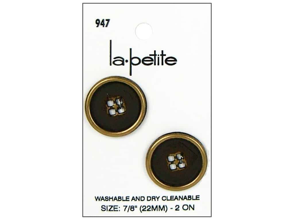LaPetite Buttons - 4 Hole - 7/8 in. Gold 2 pc.