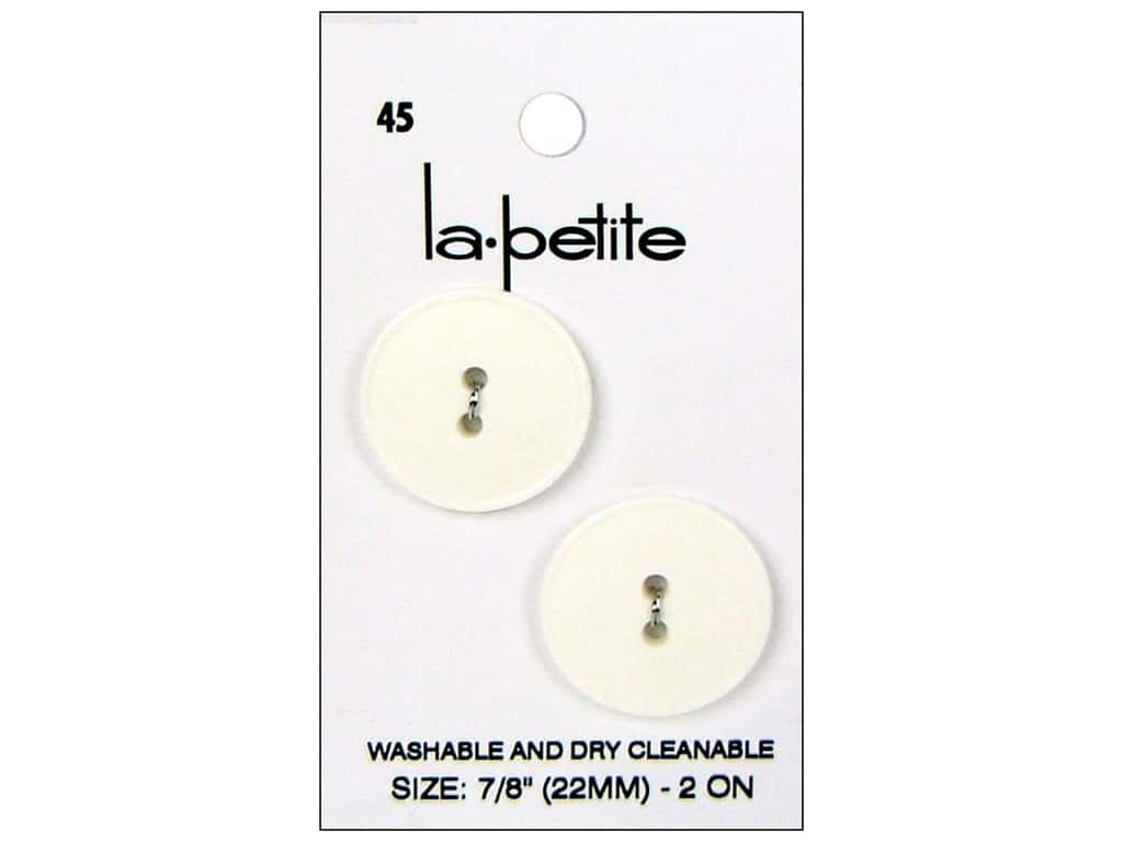 LaPetite 2 Hole Buttons 7/8 in. White #45 2pc.