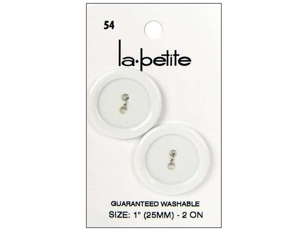 LaPetite 2 Hole Buttons 1 in. White #54 2 pc.