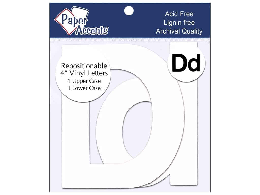 "Paper Accents Adhesive Vinyl 4 in. Letters ""Dd"" 2 pc. Removable White"