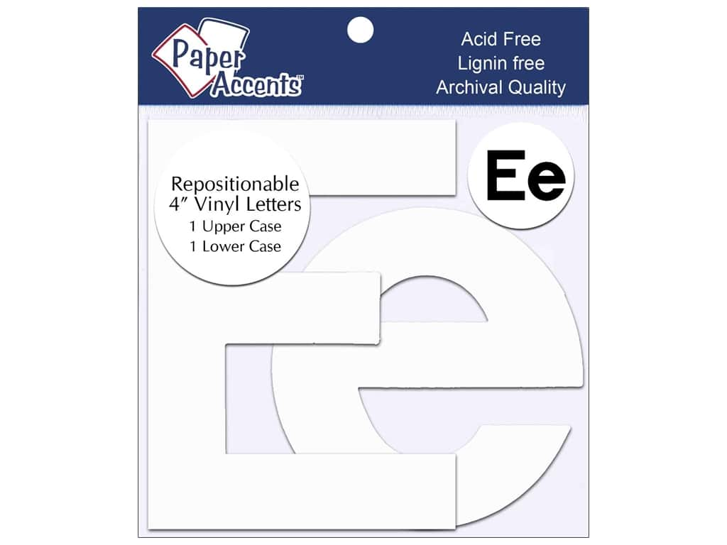 "Paper Accents Adhesive Vinyl 4 in. Letters ""Ee"" 2 pc. Removable White"