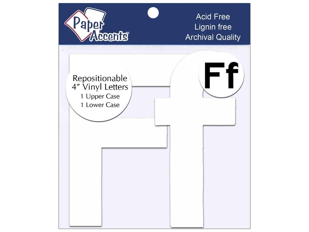 """Paper Accents Adhesive Vinyl 4 in. Letters """"Ff"""" 2 pc. Removable White"""