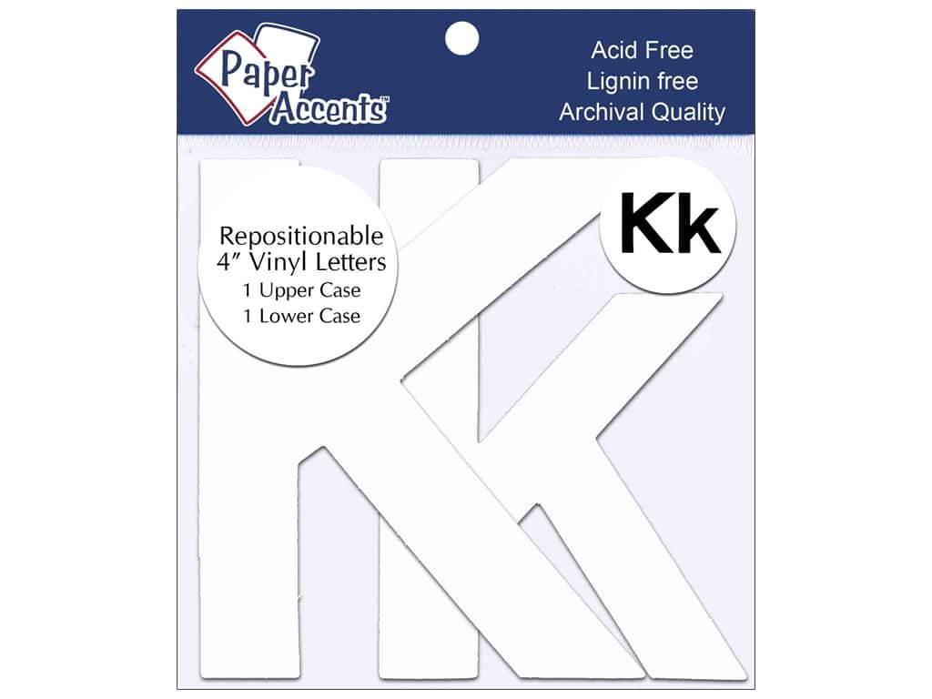 """Paper Accents Adhesive Vinyl 4 in. Letters """"Kk"""" 2 pc. Removable White"""