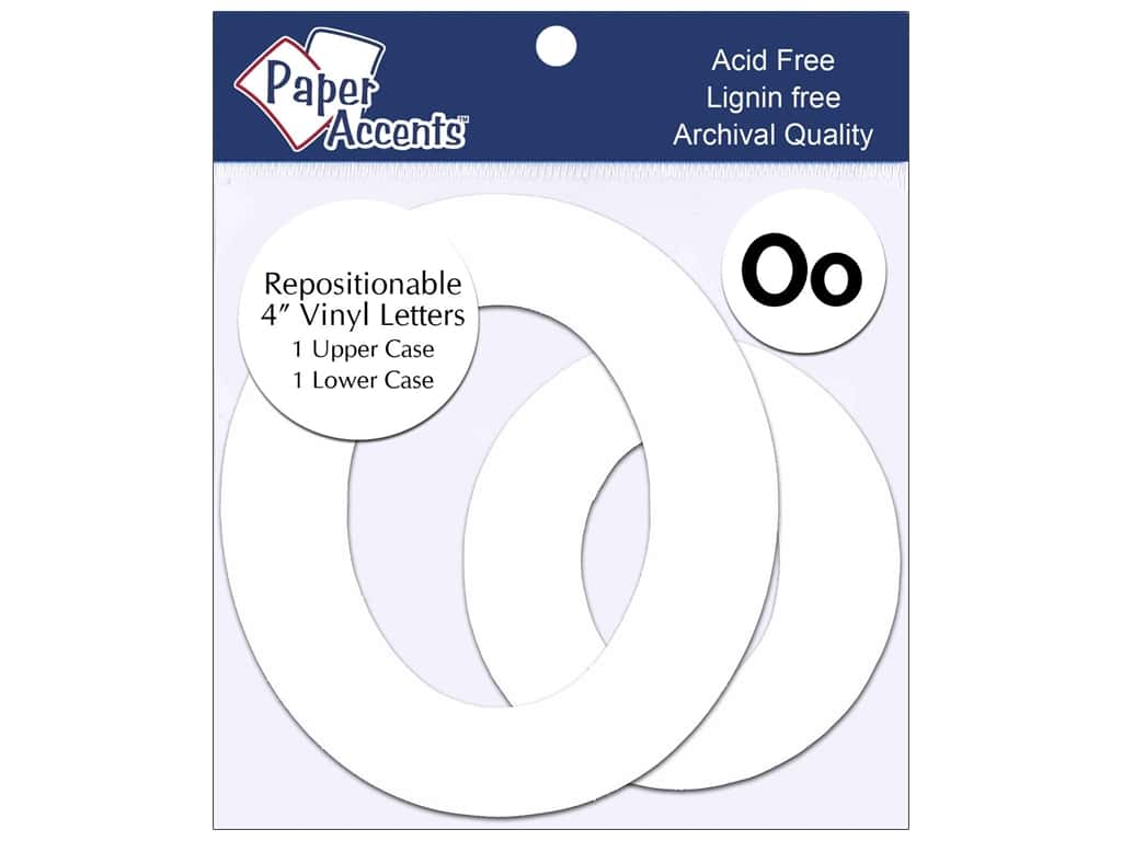 "Paper Accents Adhesive Vinyl 4 in. Letters ""Oo"" 2 pc. Removable White"