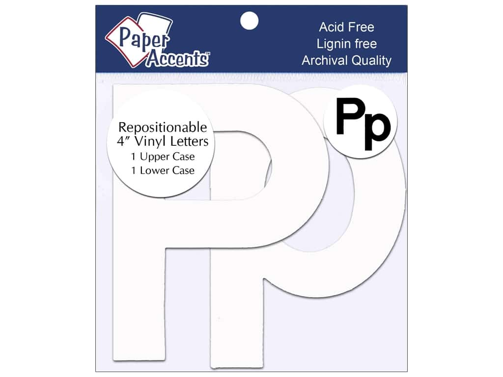 "Paper Accents Adhesive Vinyl 4 in. Letters ""Pp"" 2 pc. Removable White"