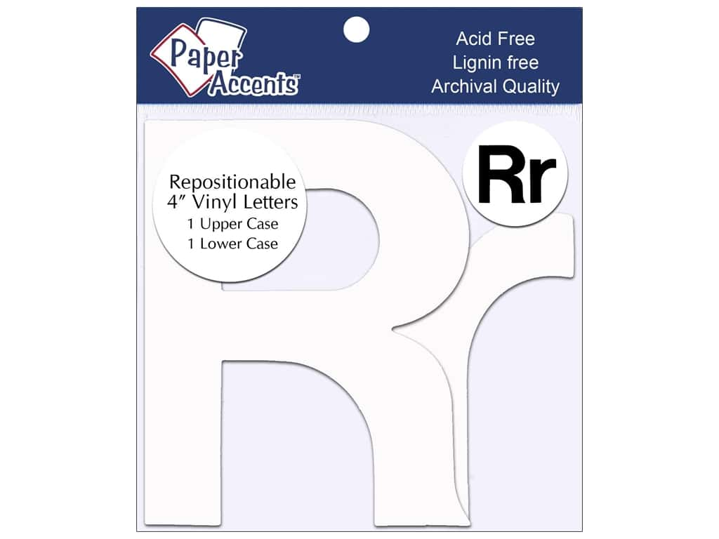 """Paper Accents Adhesive Vinyl 4 in. Letters """"Rr"""" 2 pc. Removable White"""