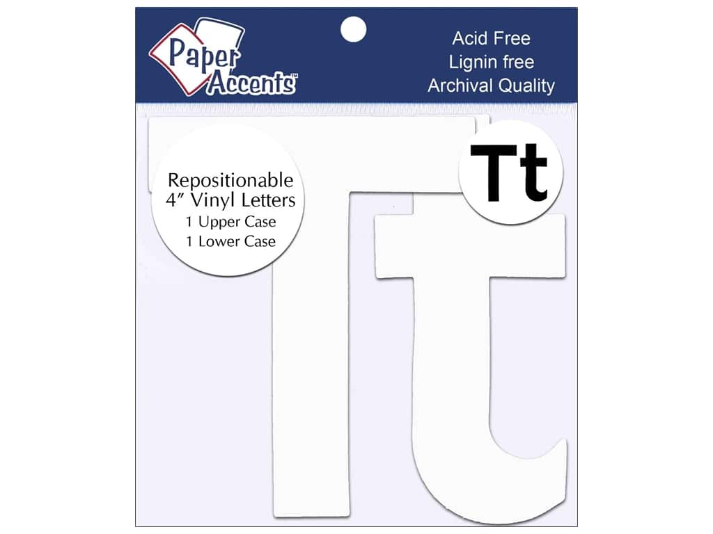 """Paper Accents Adhesive Vinyl 4 in. Letters """"Tt"""" 2 pc. Removable White"""