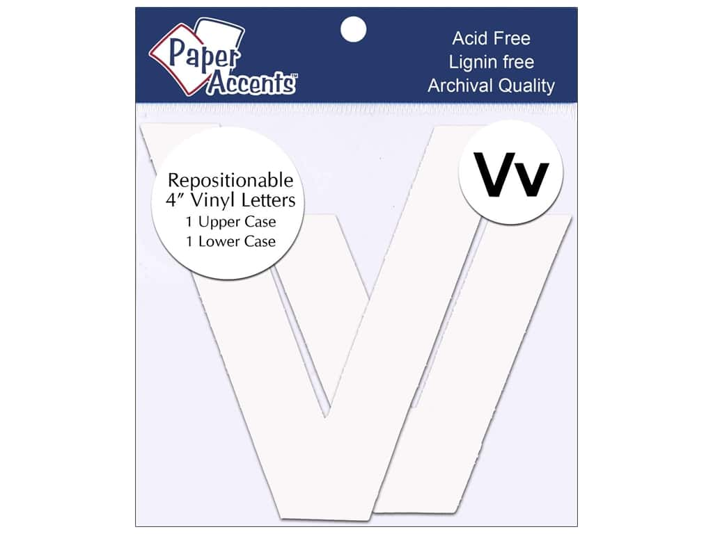 """Paper Accents Adhesive Vinyl 4 in. Letters """"Vv"""" 2 pc. Removable White"""