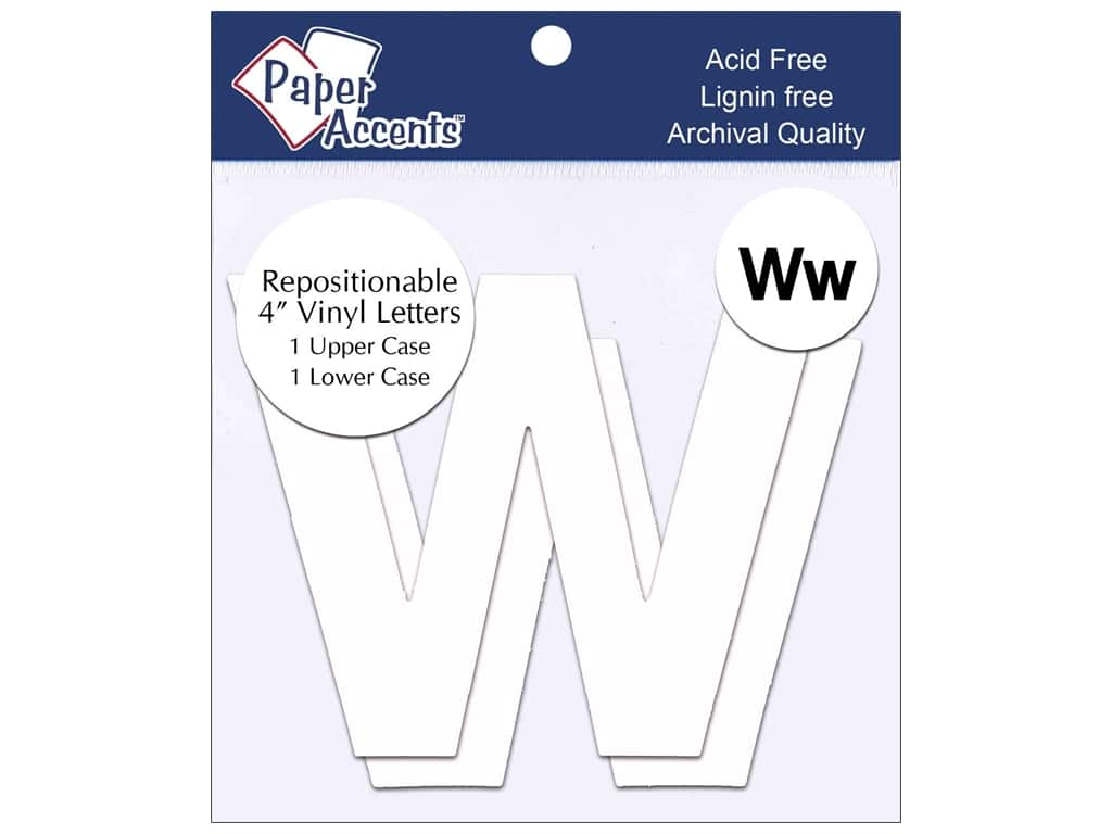 """Paper Accents Adhesive Vinyl 4 in. Letters """"Ww"""" 2 pc. Removable White"""
