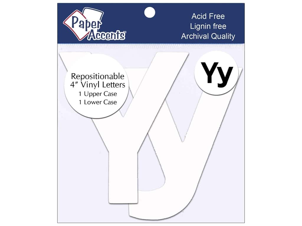 "Paper Accents Adhesive Vinyl 4 in. Letters ""Yy"" 2 pc. Removable White"