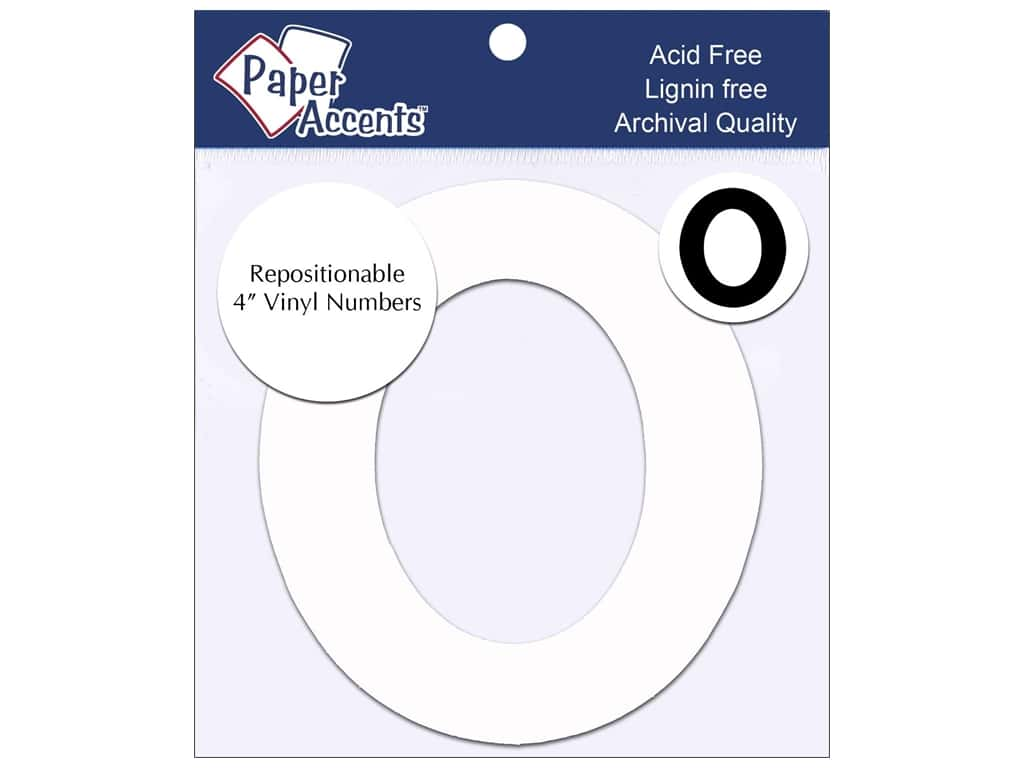 "Paper Accents Adhesive Vinyl 4 in. Numbers ""0"" 2 pc. Removable White"