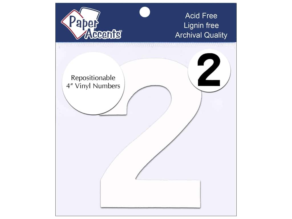 "Paper Accents Adhesive Vinyl 4 in. Numbers ""2"" 2 pc. Removable White"
