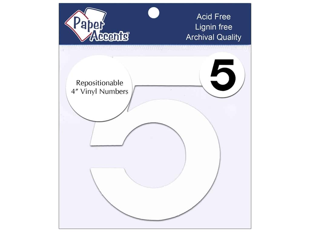 "Paper Accents Adhesive Vinyl 4 in. Numbers ""5"" 2 pc. Removable White"
