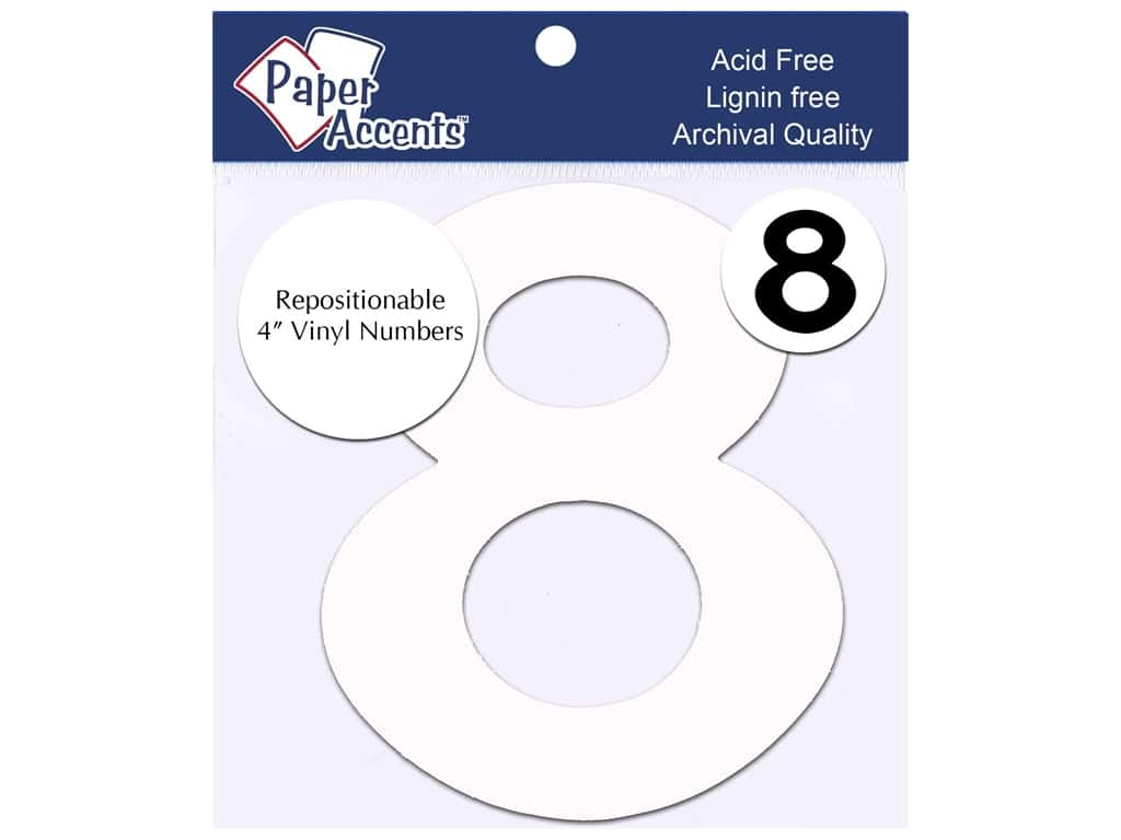 """Paper Accents Adhesive Vinyl 4 in. Numbers """"8"""" 2 pc. Removable White"""