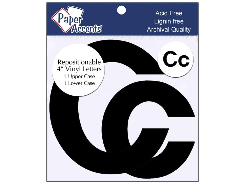 """Paper Accents Adhesive Vinyl 4 in. Letters """"Cc"""" 2 pc. Removable Black"""