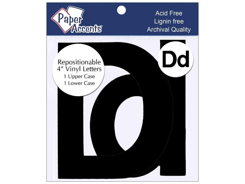 """Paper Accents Adhesive Vinyl 4 in. Letters """"Dd"""" 2 pc. Removable Black"""