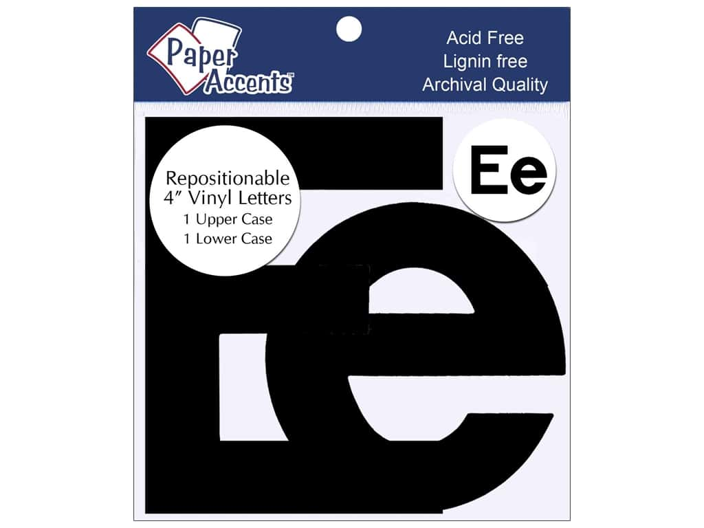"""Paper Accents Adhesive Vinyl 4 in. Letters """"Ee"""" 2 pc. Removable Black"""