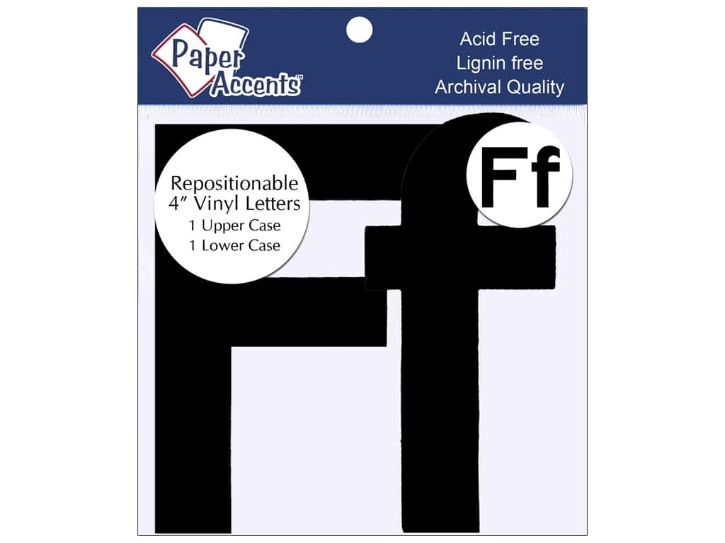 "Paper Accents Adhesive Vinyl 4 in. Letters ""Ff"" 2 pc. Removable Black"