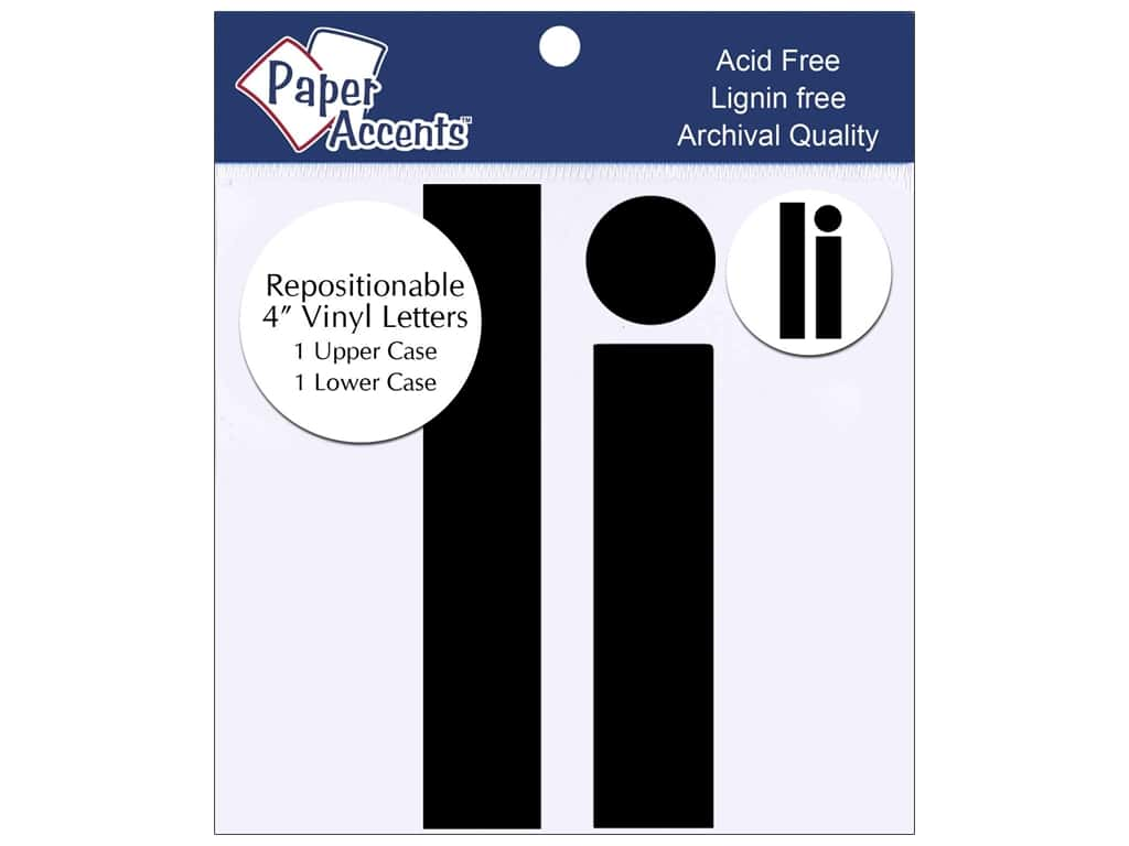 """Paper Accents Adhesive Vinyl 4 in. Letters """"Ii"""" 2 pc. Removable Black"""