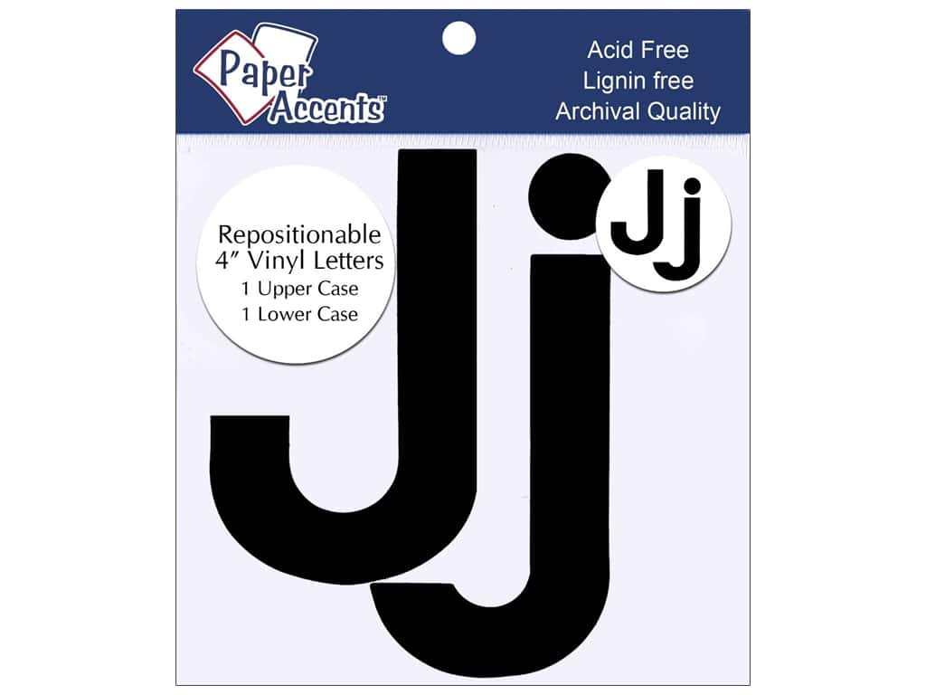 "Paper Accents Adhesive Vinyl 4 in. Letters ""Jj"" 2 pc. Removable Black"