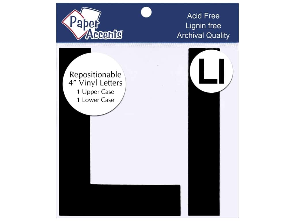 "Paper Accents Adhesive Vinyl 4 in. Letters ""Ll"" 2 pc. Removable Black"