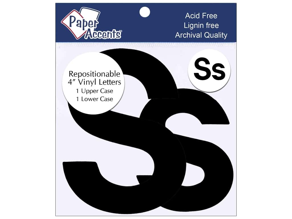 """Paper Accents Adhesive Vinyl 4 in. Letters """"Ss"""" 2 pc. Removable Black"""