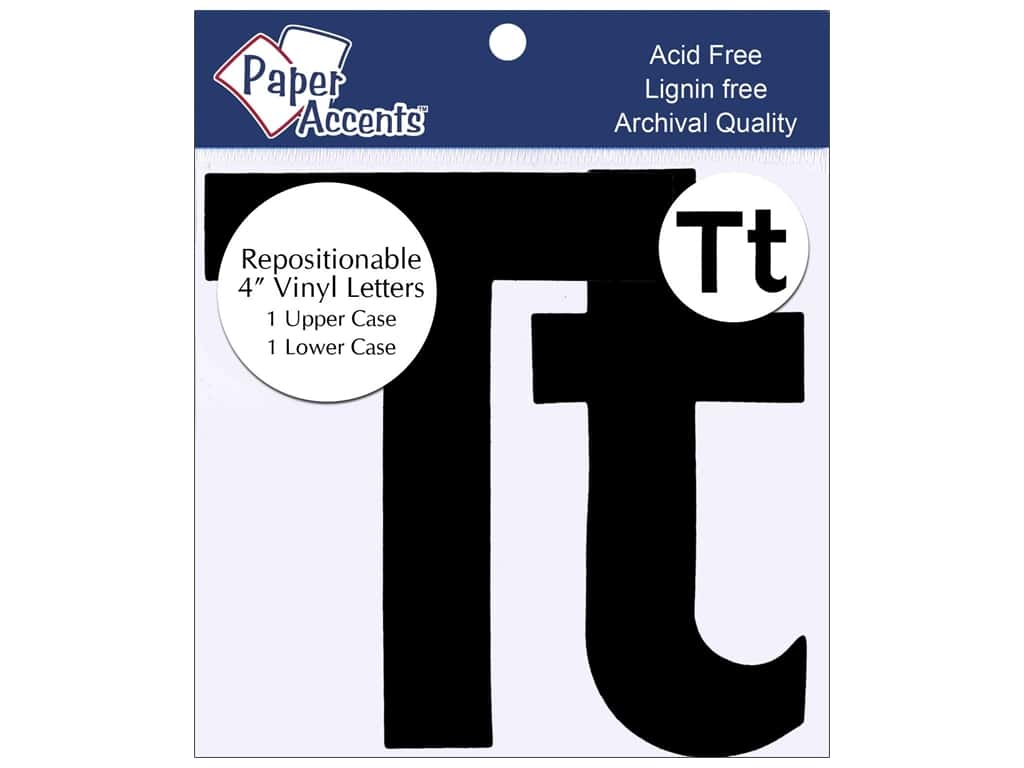 """Paper Accents Adhesive Vinyl 4 in. Letters """"Tt"""" 2 pc. Removable Black"""