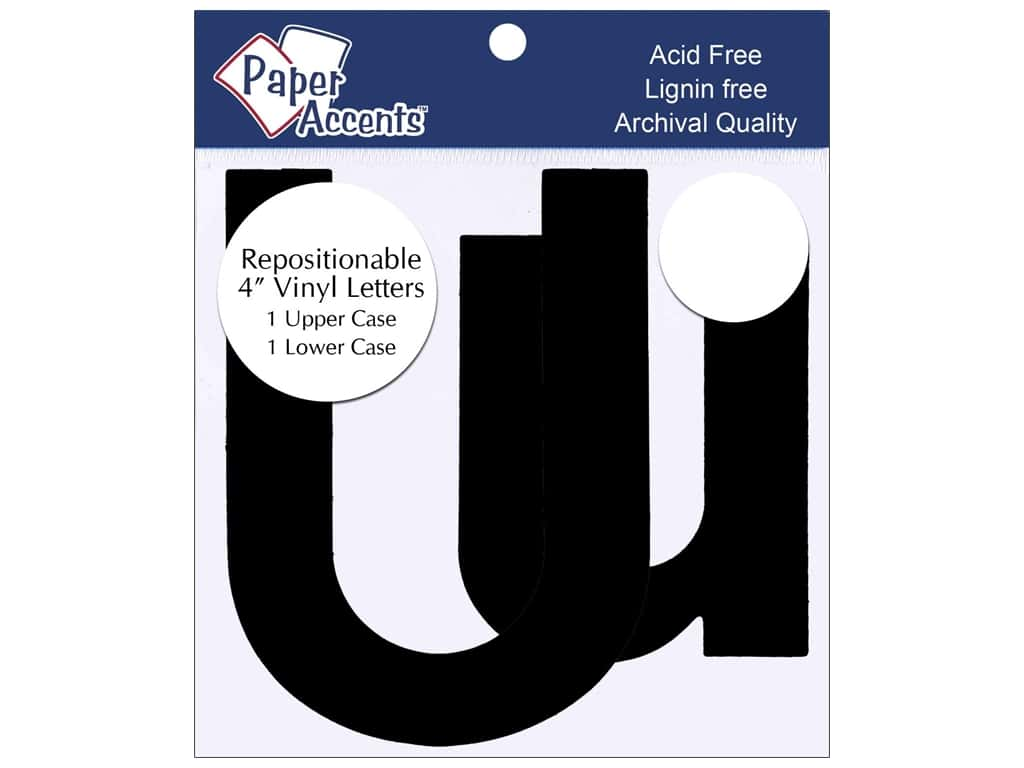 """Paper Accents Adhesive Vinyl 4 in. Letters """"Uu"""" 2 pc. Removable Black"""