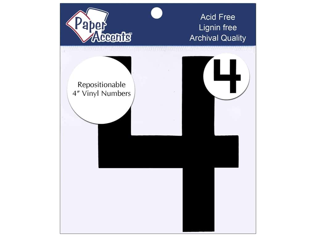 """Paper Accents Adhesive Vinyl 4 in. Numbers """"4"""" 2 pc. Removable Black"""