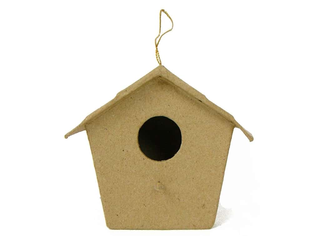 PA Paper Mache Pointed Roof Birdhouse Ornament 4 1/4 in.