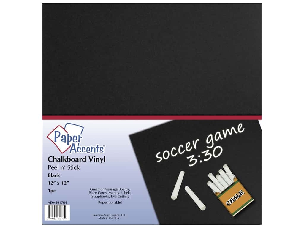 Paper Accents Adhesive Vinyl 12 x 12 in. Removable Black Chalkboard
