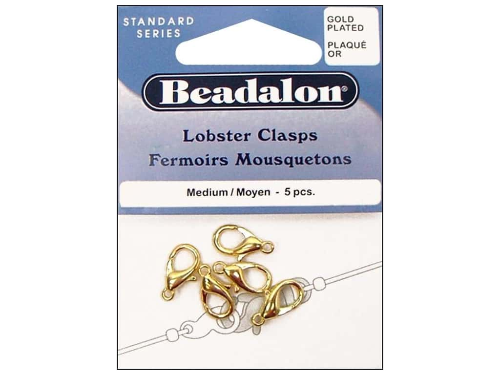 Beadalon Clasp Lobster 5 pc. Medium Gold Plated