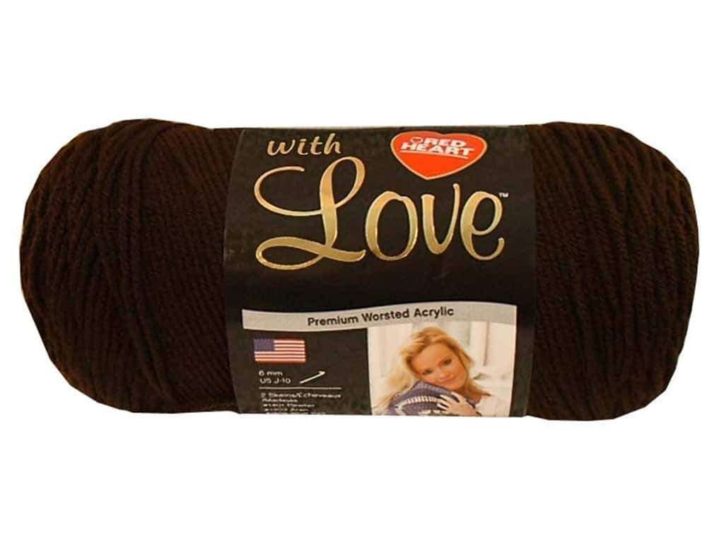 Red Heart With Love Yarn 370 yd. #1321 Chocolate