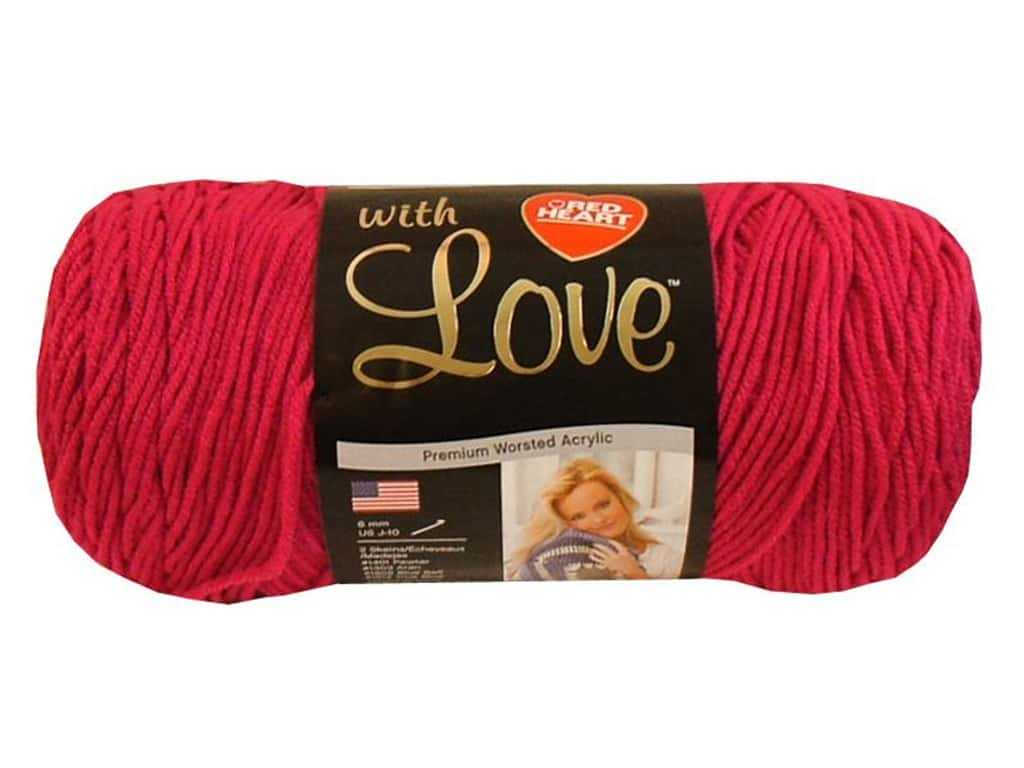 Red Heart With Love Yarn 370 yd. #1701 Hot Pink
