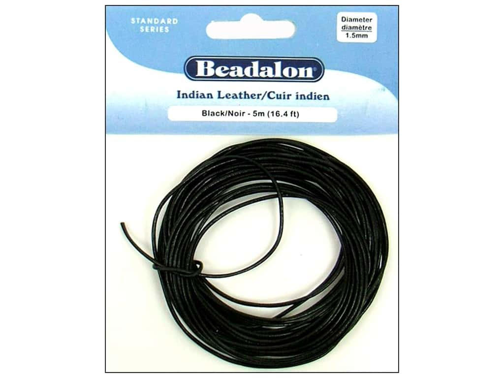 Beadalon Indian Leather Cord 1.5 mm (.059 in.) Black 5 m (16.4 ft.)