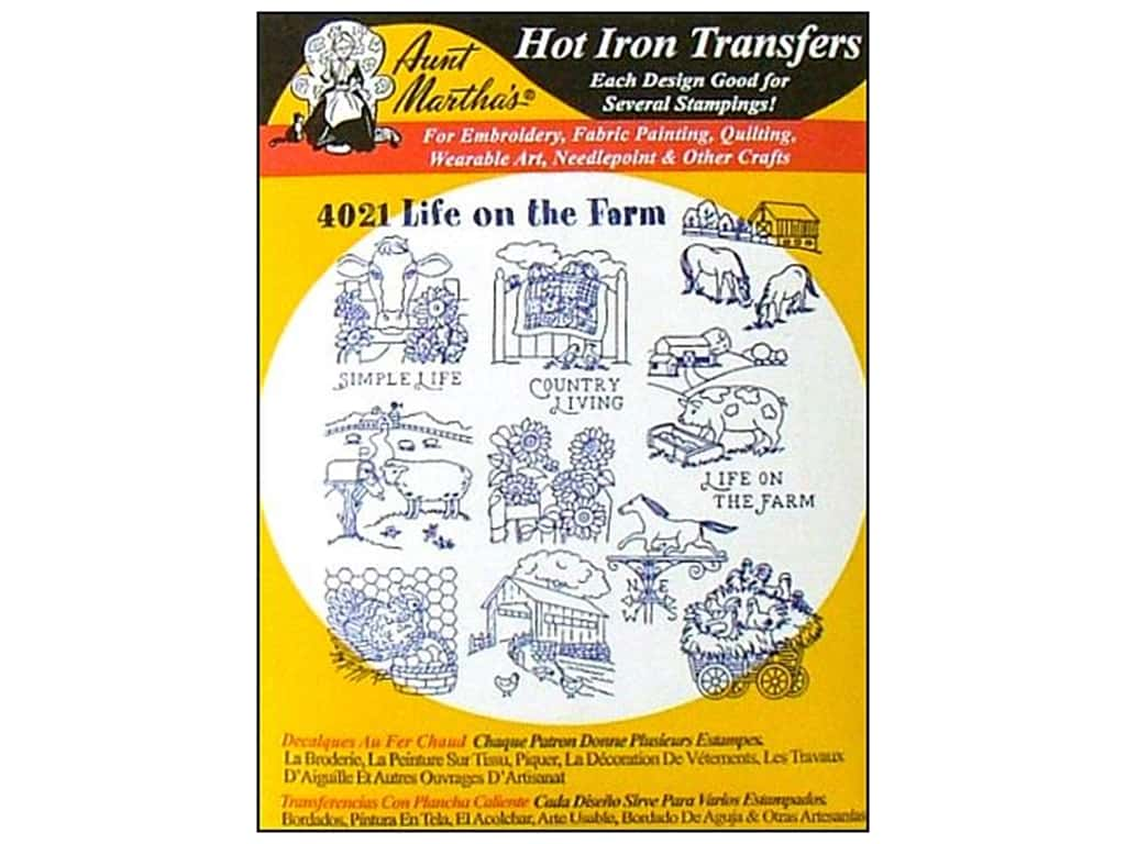 Aunt Martha's Hot Iron Transfer #4021 Life On The Farm